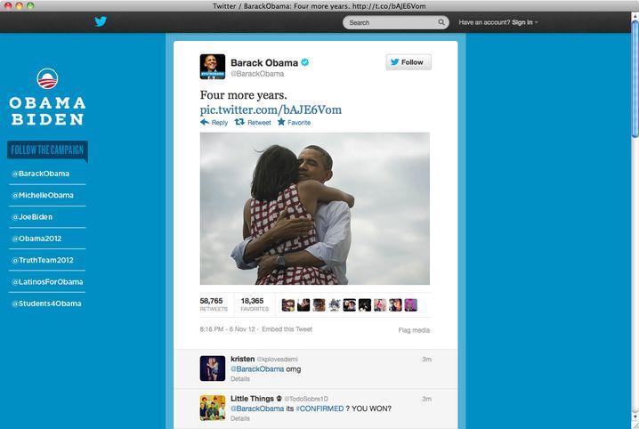 Bild von Obamas Twitter-Account: Innige Umarmung mit Michelle