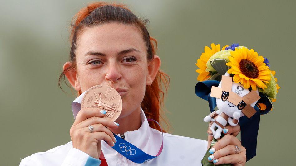 Sportschützin Alessandra Perilli holte Bronze im Trap, Silber im Mixed-Trap - und damit zwei der drei Olympia-Medaillen für San Marino in Tokio