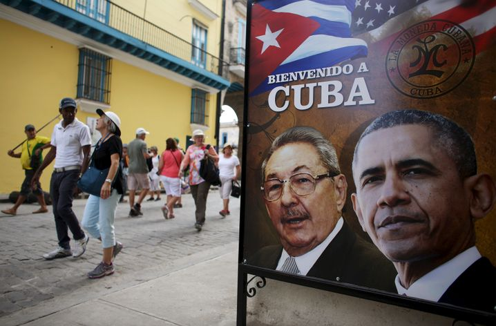 Obama-Castro-Plakat in Havanna