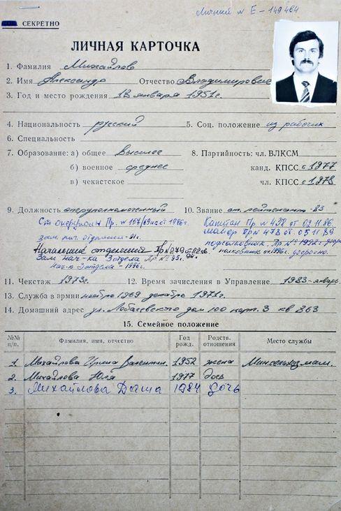 """Die Personalakte des Oberst a. D. Michailow. Sie trägt links oben den Vermerk """"geheim""""."""