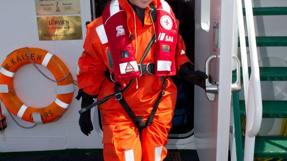 SPD-Politikerin Schwesig (am 30. Mai bei einer Seenotrettungsübung): Ärger mit der Landespresse