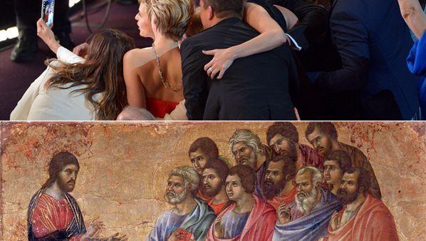 Smartphone-Selfie in der Oscar-Nacht (hier gespiegelt), Jesusdarstellung von Duccio di Buoninsegna (~1311): Netz, dein Name sei Selfieness