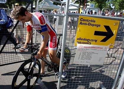 French David Moncoutie of the Cofidis cycling team leaves a doping test center at the Tour de France in Strasbourg.