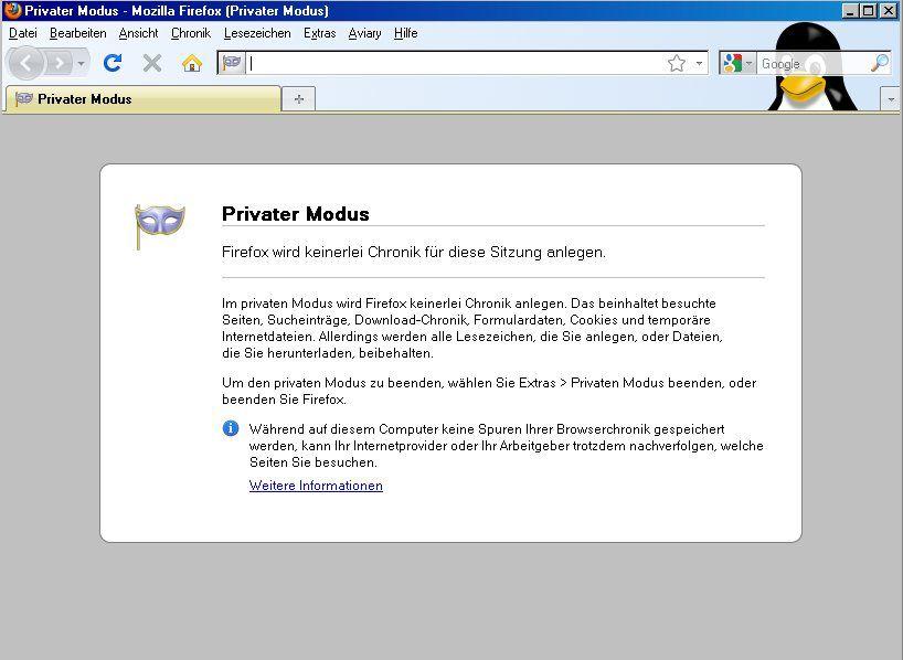 SCREENSHOT Firefox / Privater Modus