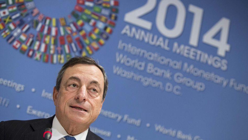 EZB-Chef Draghi bei der IWF-Tagung in Washington: Gegenwind gewohnt