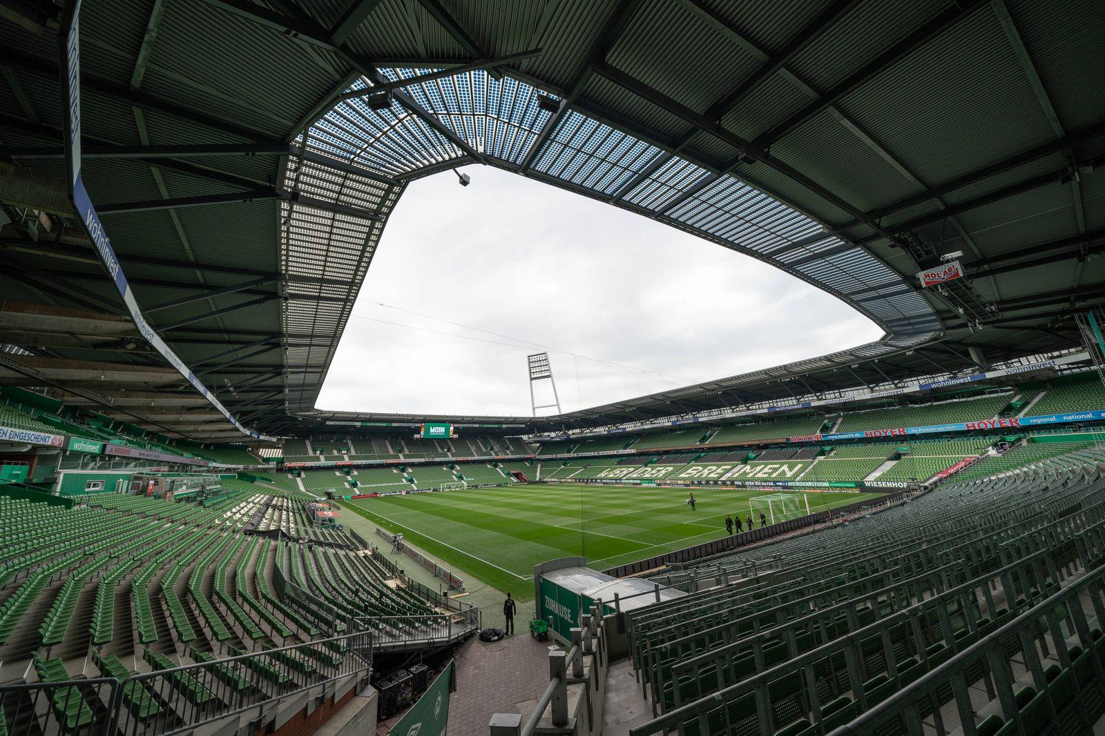 SV Werder Bremen vs Bayer 04 Leverkusen, 18.05.2020 Feature Ueberblick Stadion leeres Stadion Spielertunnel, Flutlichtm