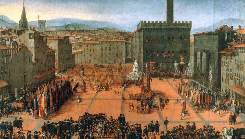 Finanzmetropole: Die Piazza della Signoria war das politische Zentrum von Florenz (anonymes Gemälde, 16. Jahrhundert).