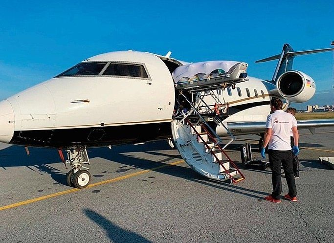 Navalny was flown from Omsk to Berlin on this chartered plane.