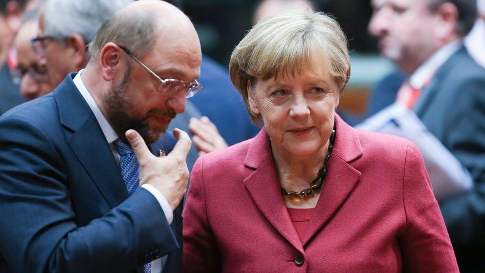 Schulz und Merkel (Archivbild 2014)