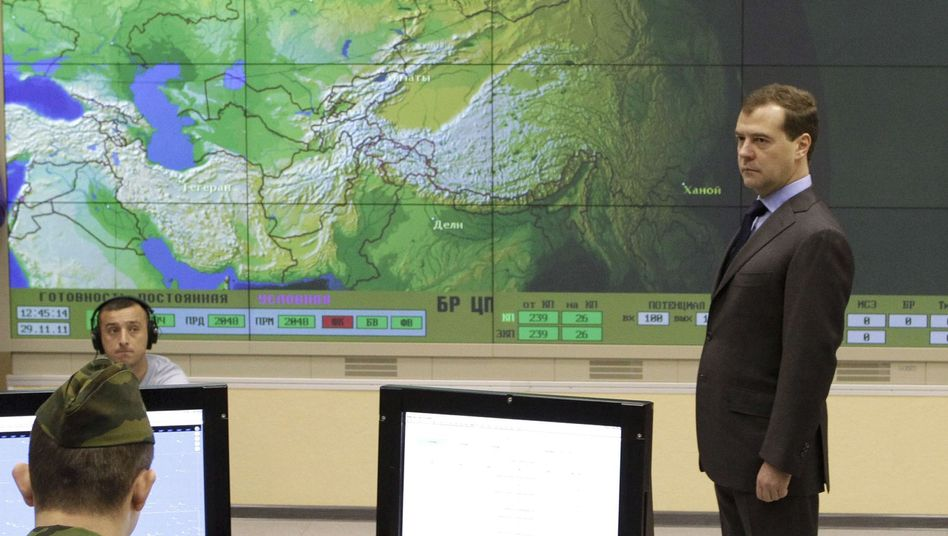 Russian President Dmitry Medvedev opening a radar station in Kaliningrad.