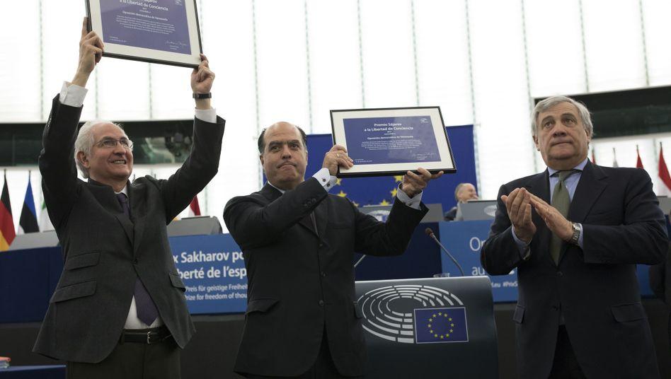 Julio Borges und Antonio Ledezma, Venezuelas Oppositionelle im EU-Parlament