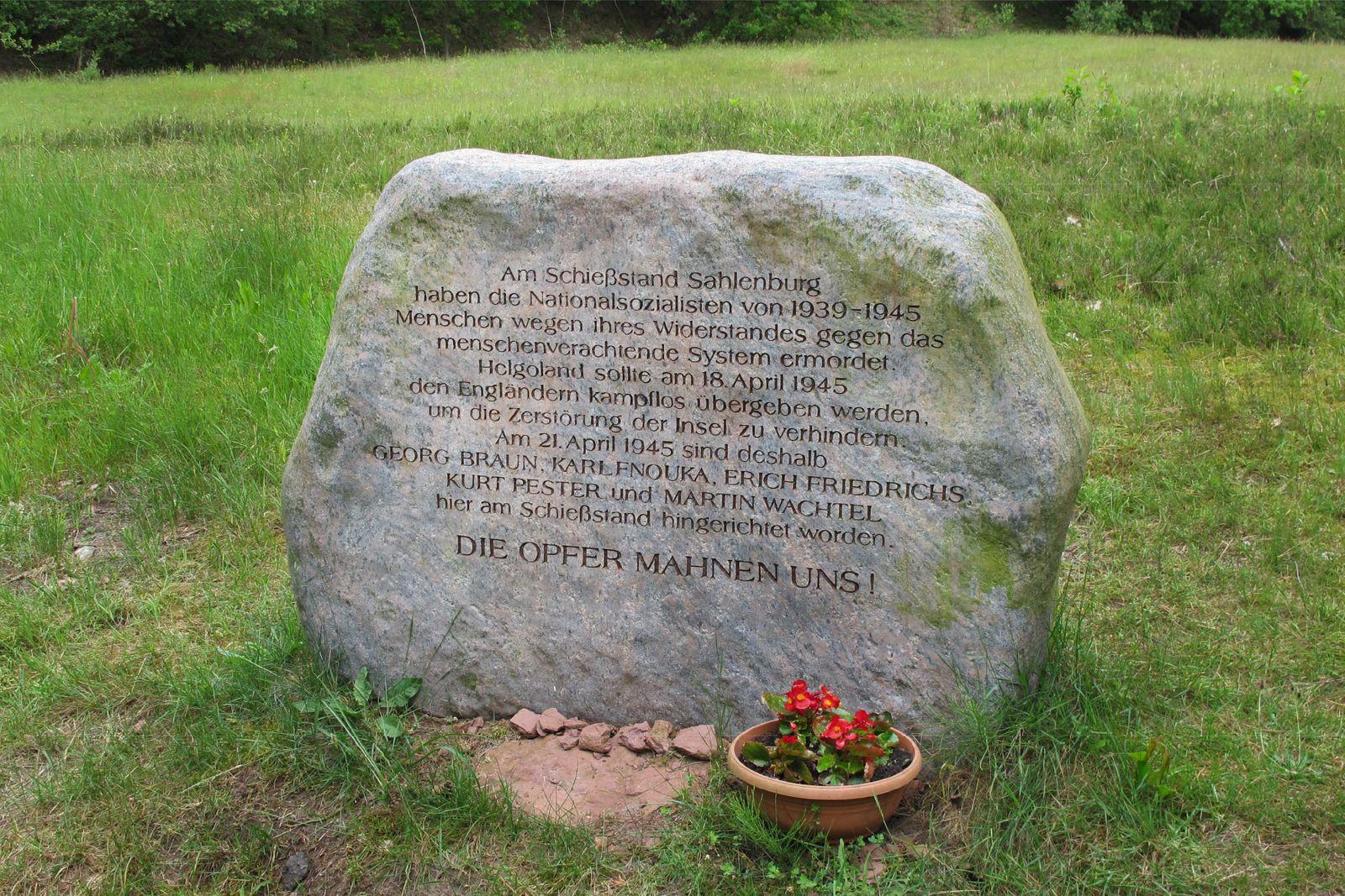 Gedenkstein Sahlenburg Inrichtung- Ermordungsstätte