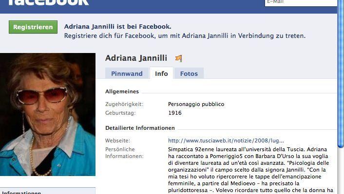 La dottoressa: Adriana Jannilli ist steinalt, weiß viel, kann sogar Facebook