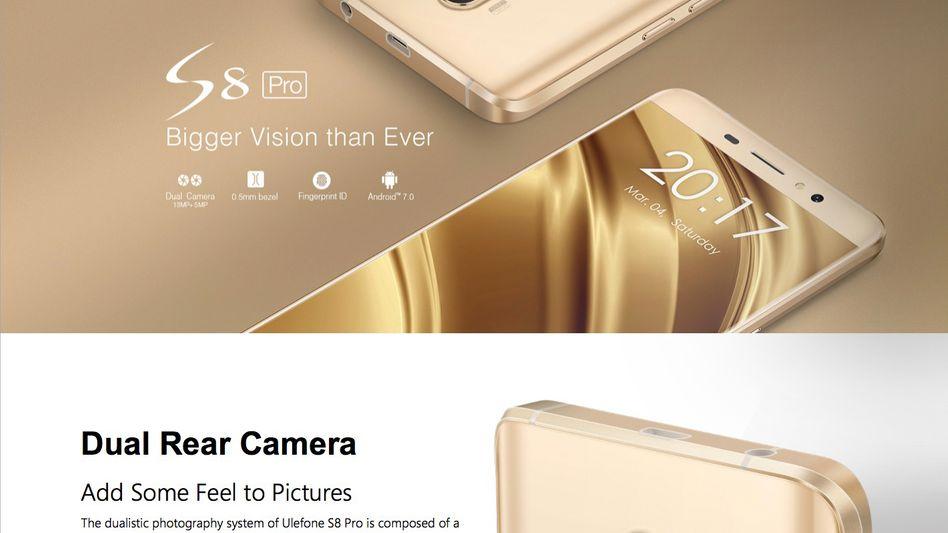 Ulefone S8 Pro (Screenshot der Herstellerseite)