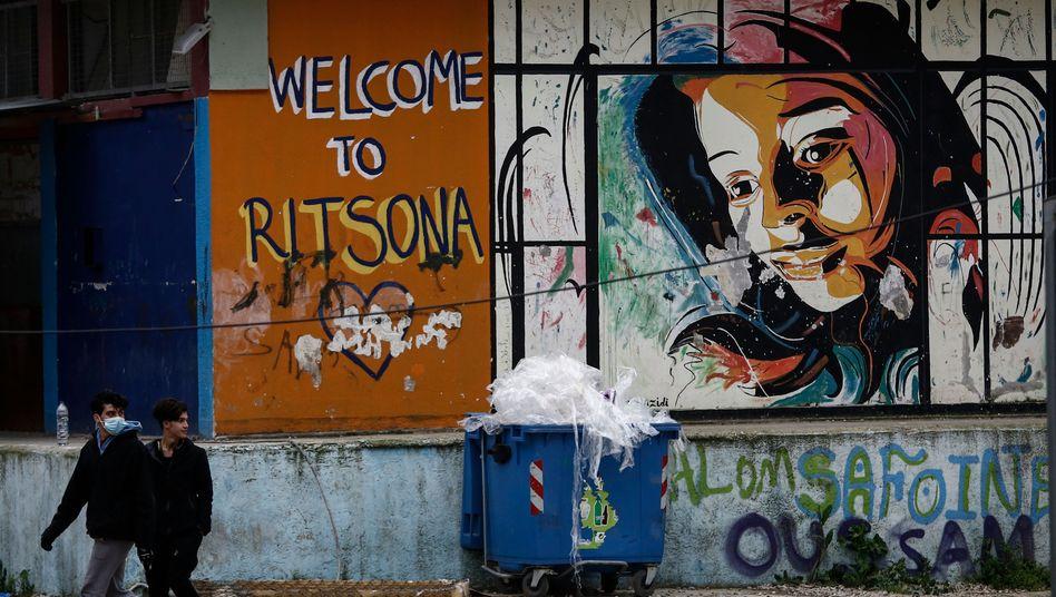 """""""Das Virus ist im Camp - und wir sind auf uns allein gestellt"""": Wandzeichnung im Flüchtlingslager"""