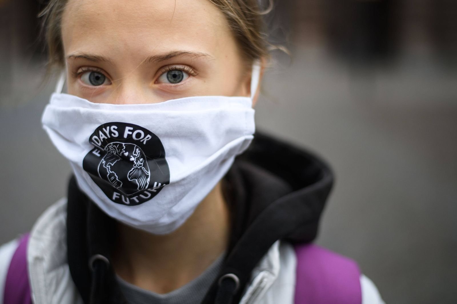201002 Climate activist Greta Thunberg pose for a portrait during the Fridays for Future Stockholm Climate Strike on Oc