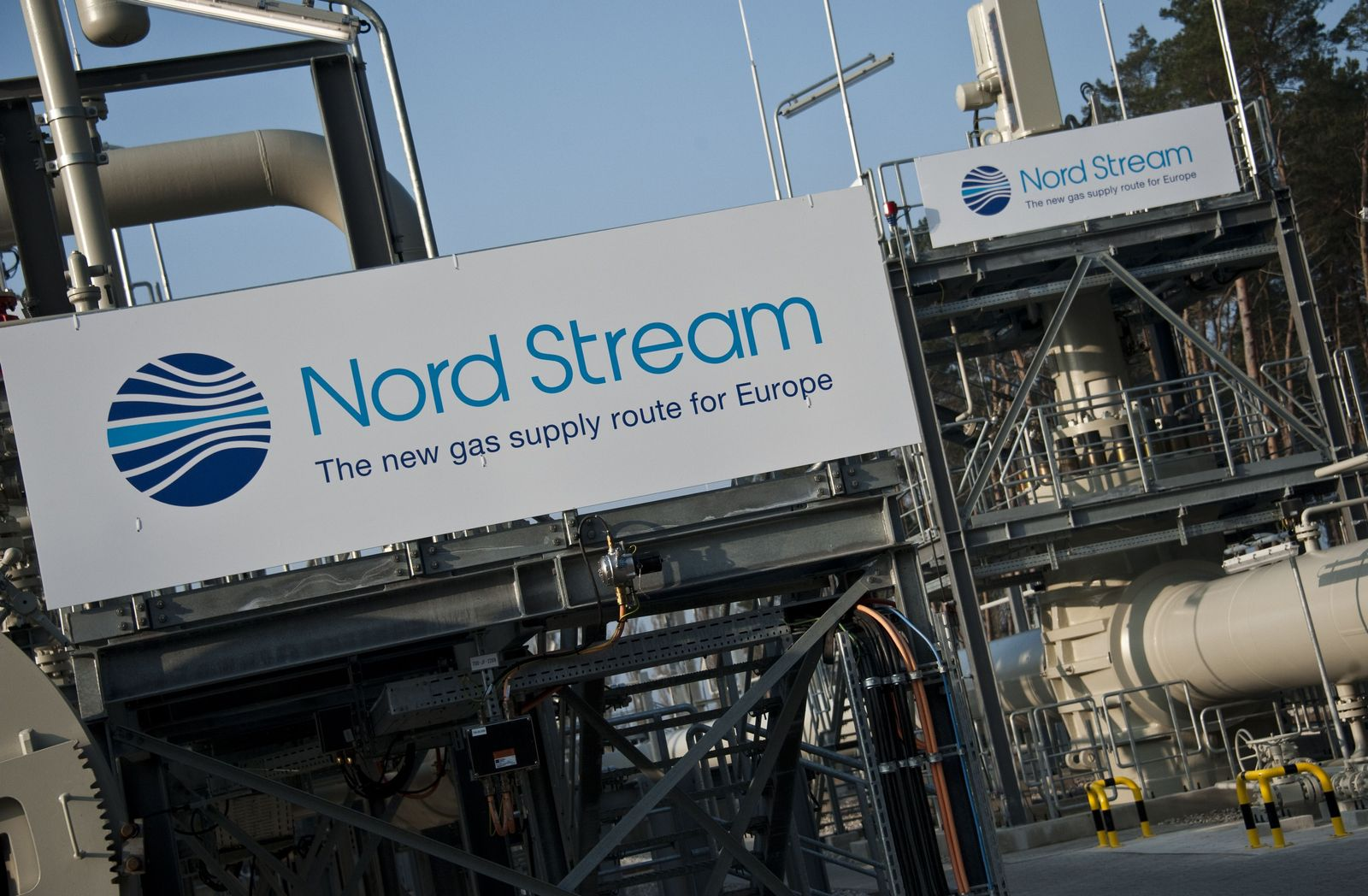 Nord Stream launch machinery sign