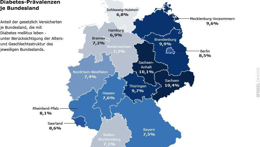 Diabetes-Atlas 2012: Häufigkeit von Diabetes in den einzelnen Bundesländern (zur Großansicht klicken)
