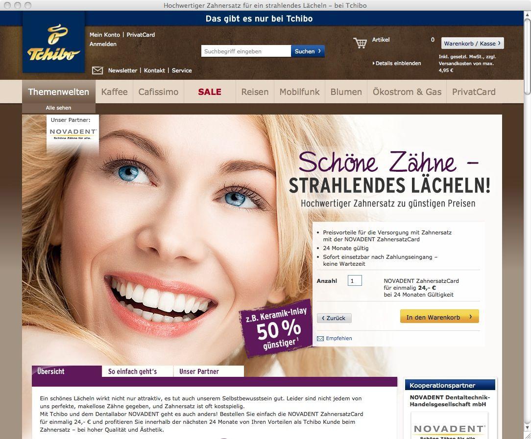 NUR ALS ZITAT Screenshot Tchibo/ Zahnersatz
