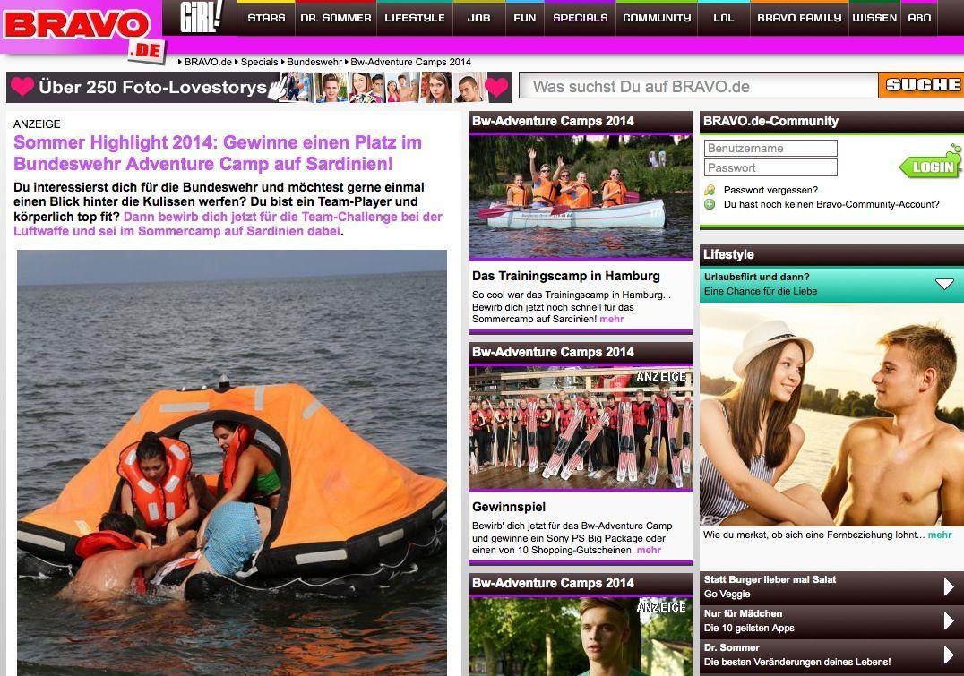 EINMALIGE VERWENDUNG bravo.de/specials/ Screenshot