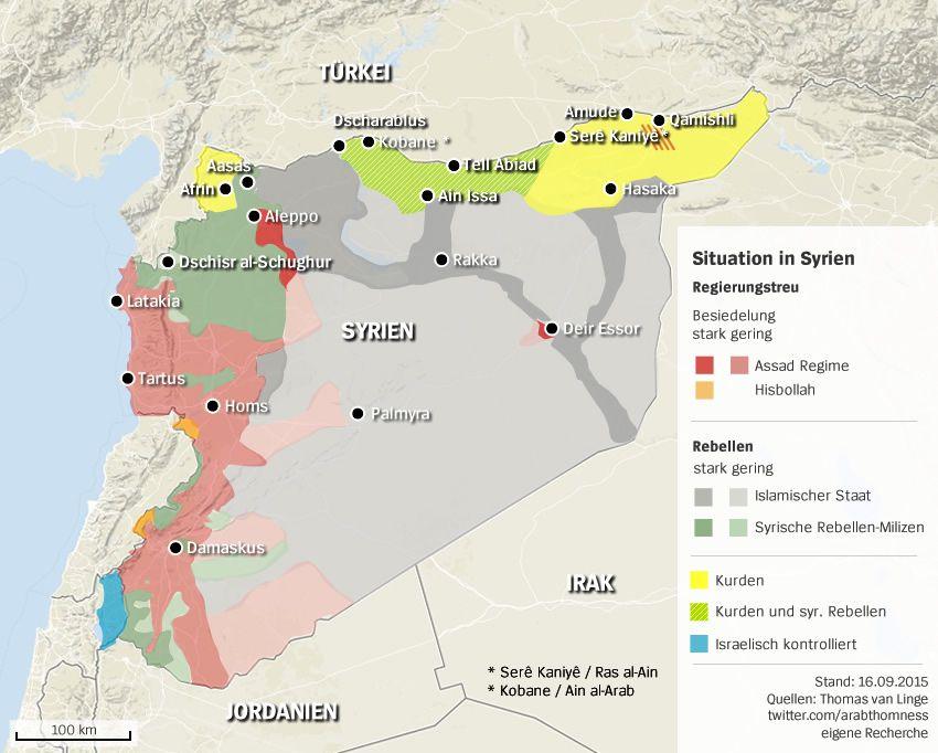 KARTE - Syrien mit Karjatain Gebiete IS, Rebellen etc. Stand: 150928