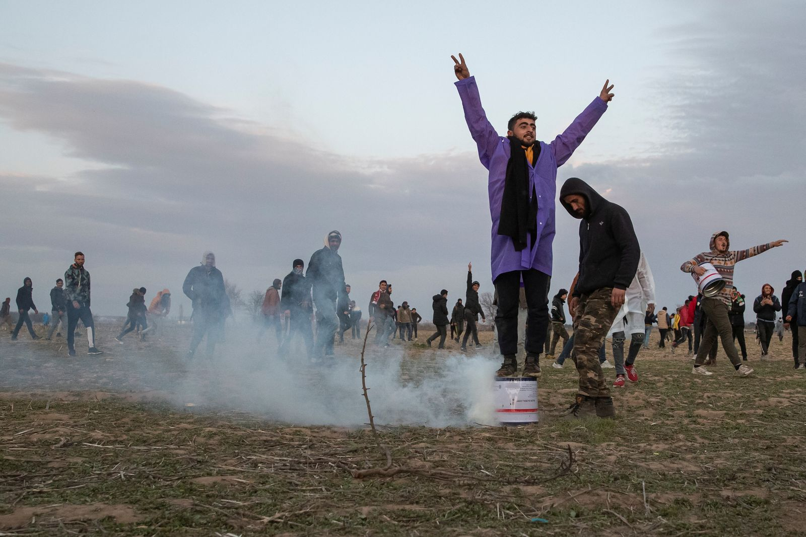 Migrants gather on the Turkish-Greek border, in Edirne