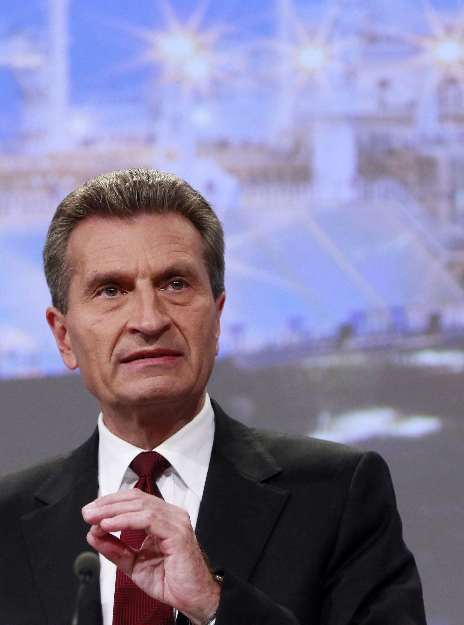 EU Commissioner Oettinger speaks during a news conference on secu