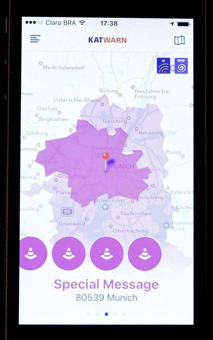 Warnung in der Katwarn-Smartphone-App