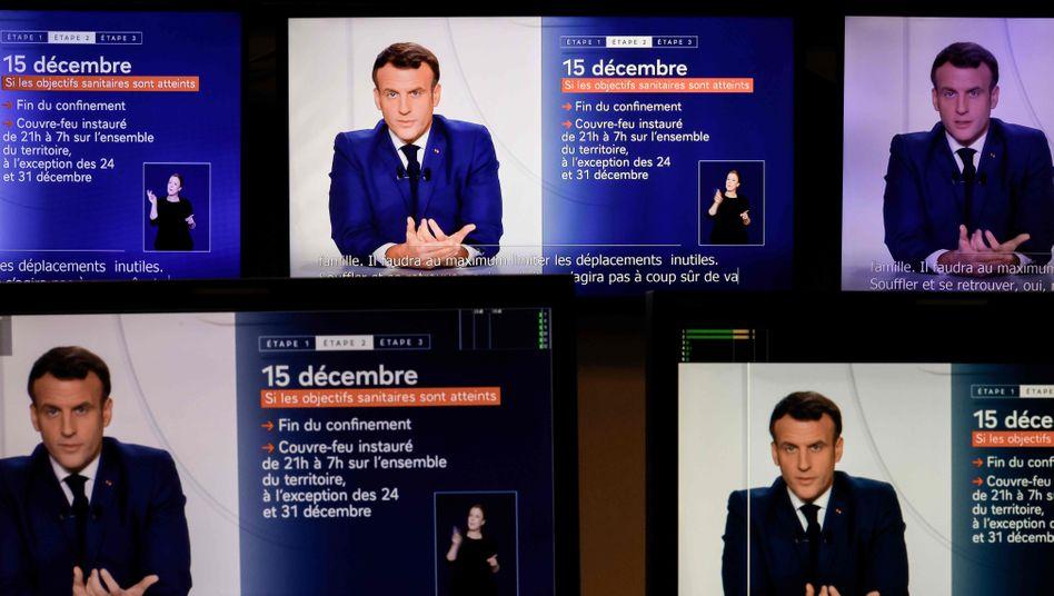 Emmanuel Macron während seiner Fernseh-Ansprache am 24. November