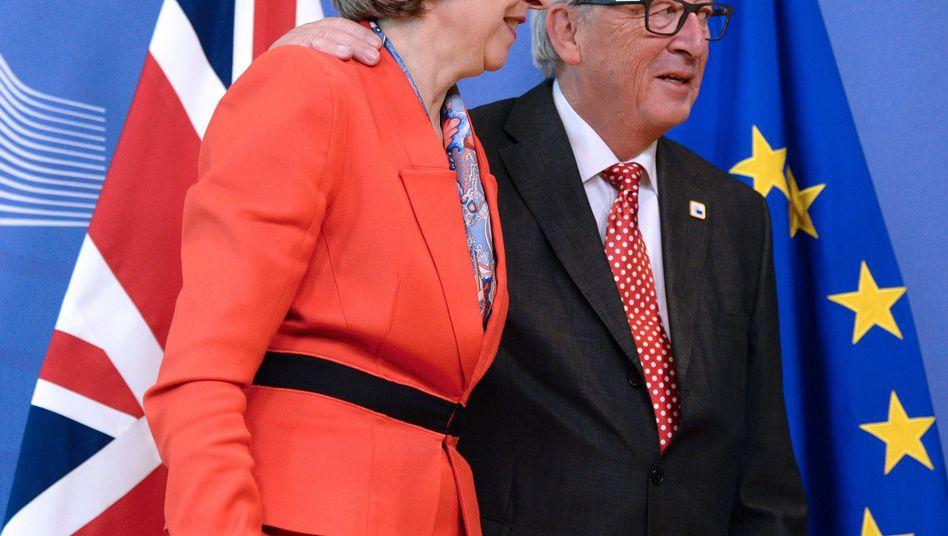 Theresa May, EU-Kommissionschef Jean-Claude Juncker