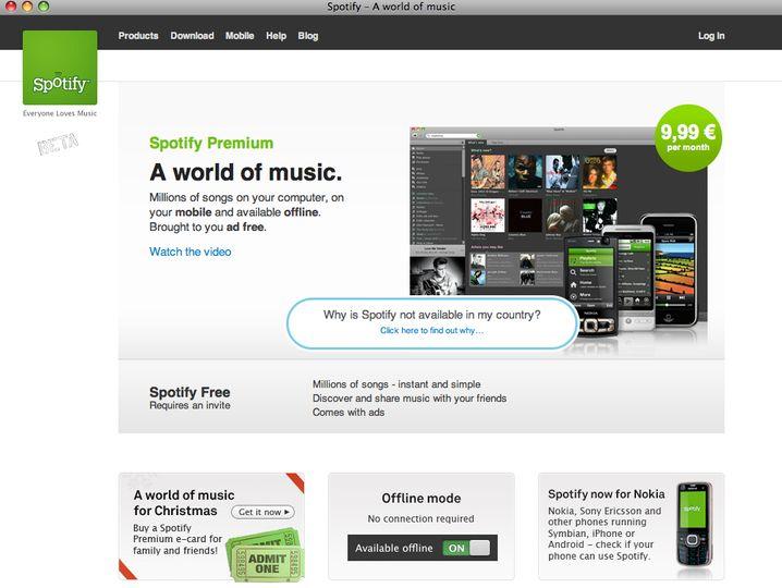 In der Wolke zu Hause: Per Stream bietet der Dienst Spotify Millionen Songs an
