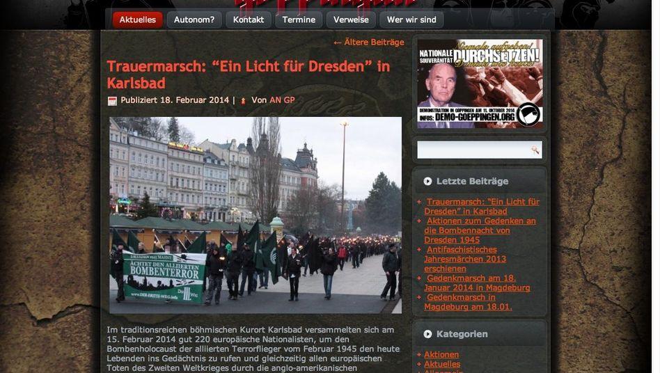 Screenshot der Vereinswebseite: Vorwurf der Körperverletzung und Volksverhetzung
