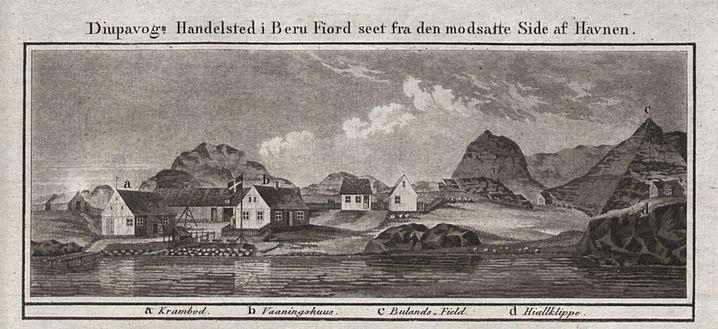 Djúpivogur auf einem Stich aus dem Jahr 1820