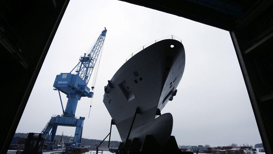 Schiffsmodul in der Peene-Werft in Wolgast: Branche in Not