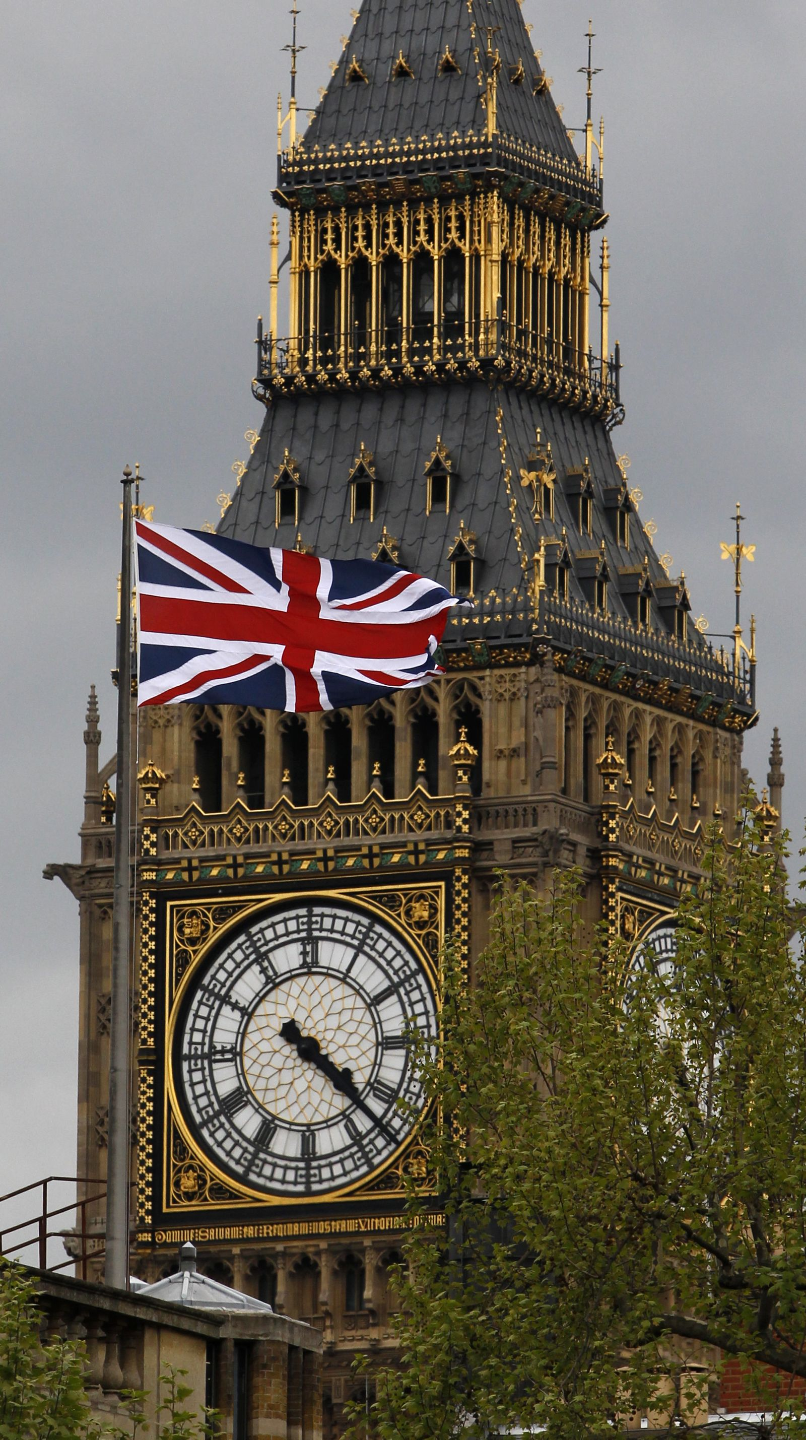 Big Ben / Union Jack flag / Fahne