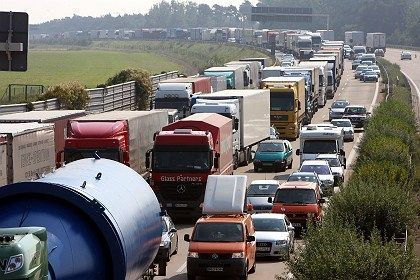 """A traffic jam on the A2 autobahn in the eastern German state of Saxony-Anhalt: """"I am convinced we will see a speed limit."""""""
