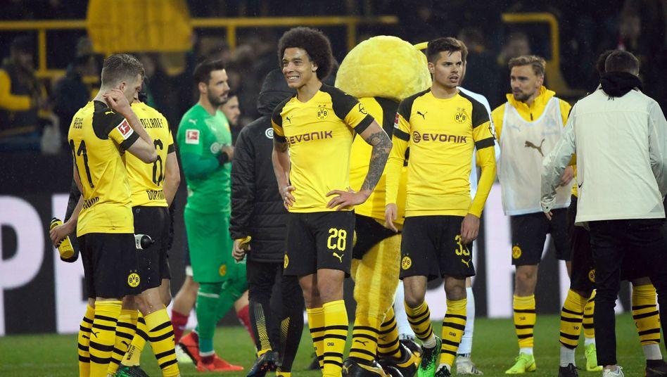 Dortmunds Spieler nach der Partie gegen Mainz
