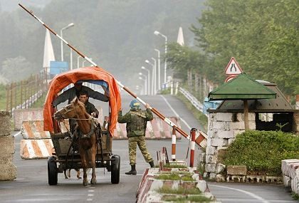 A checkpoint between Russia and Georgia's breakaway region of Abkhazia.