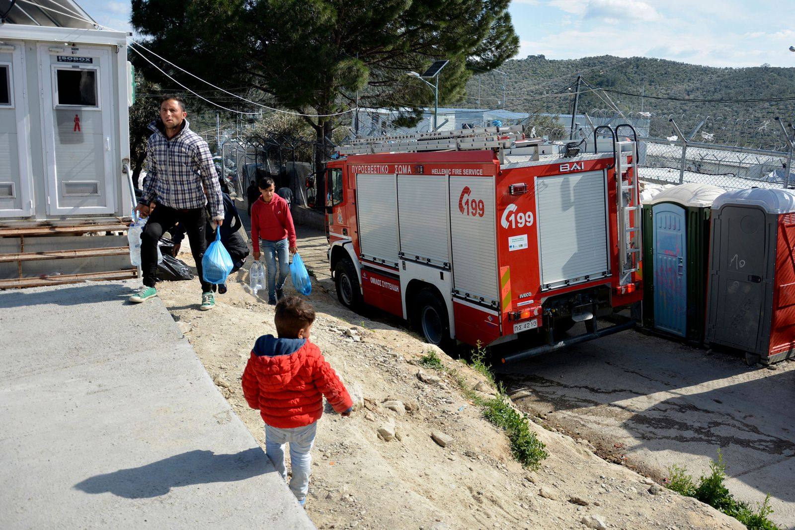 Six-year-old child found dead after Moria fire, Greece - 16 Mar 2020