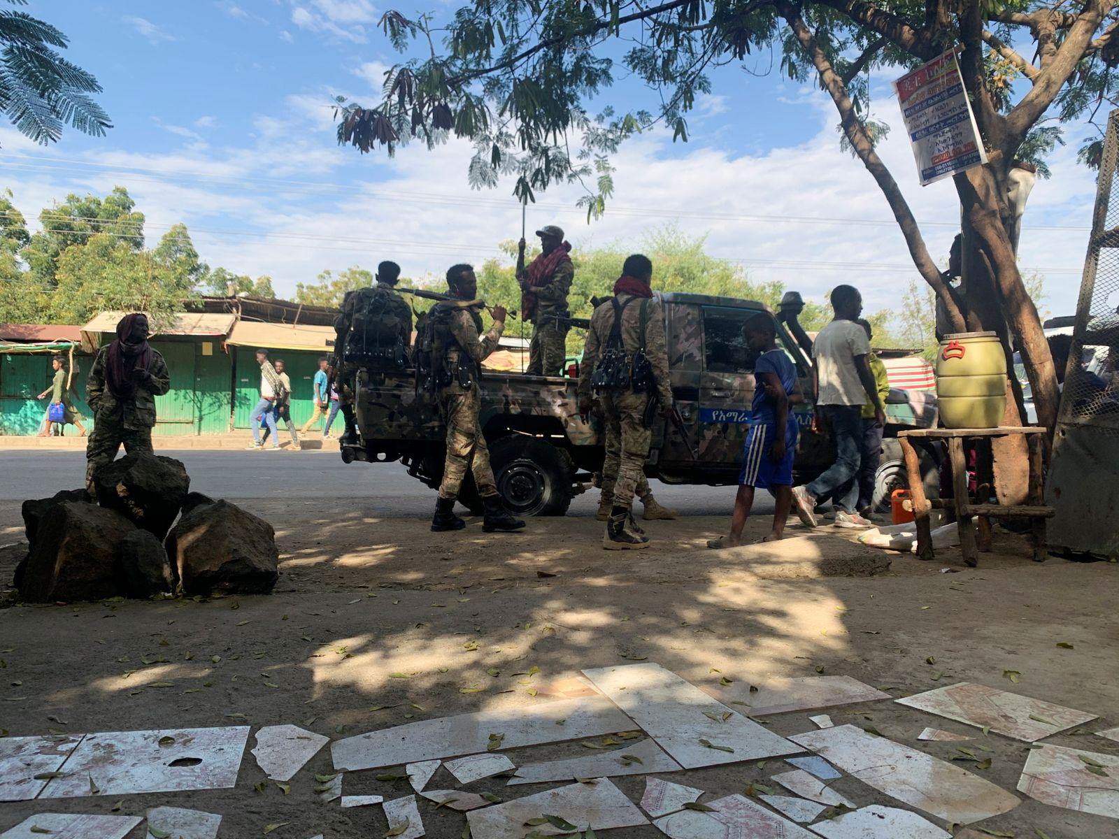 Members of Ethiopian National Defense Force prepare to head to missio, in Sanja