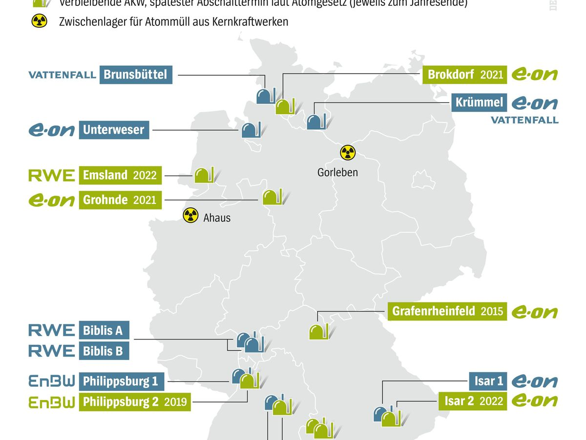 Atomkraftwerk Karte Standorte Und Zwischenlager In Deutschland
