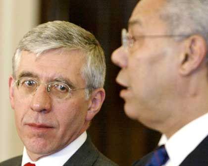 Ihnen wird starker wirtschaftlicher Druck zugetraut: Großbritanniens Außenminister Jack Straw, US-Außenminister Colin Powell