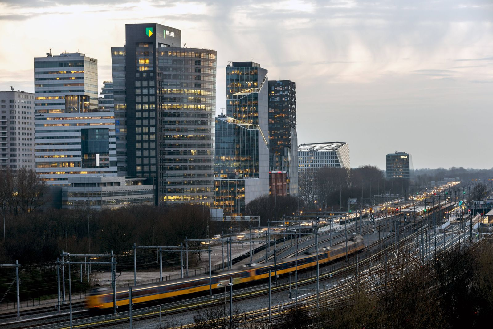 The Netherlands Amsterdam View of the Zuidas at sunset Business district of Amsterdam Photo CO