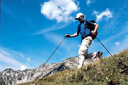 Trendsport mit Stöcken: Beim Nordic Walking werden fast 90 Prozent aller Muskeln beansprucht