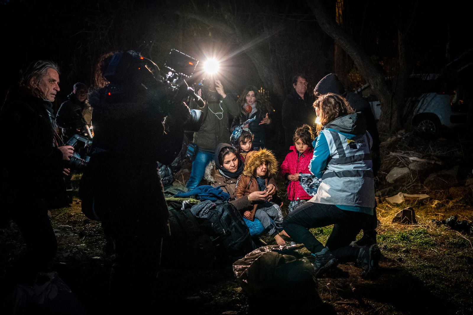 Greece, Lesbos, Refugees arrive at the European shore