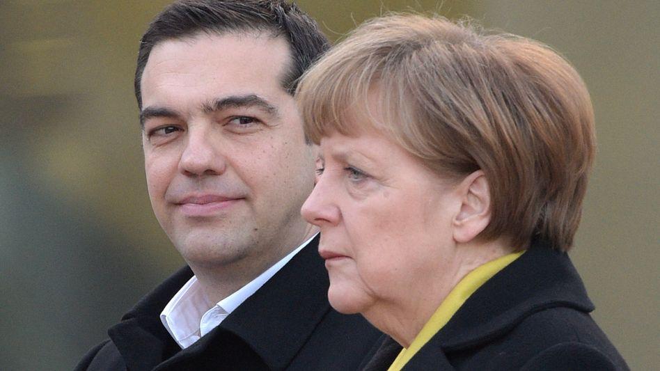 Regierungschef Tsipras, Kanzlerin Merkel: Die Schuldfrage