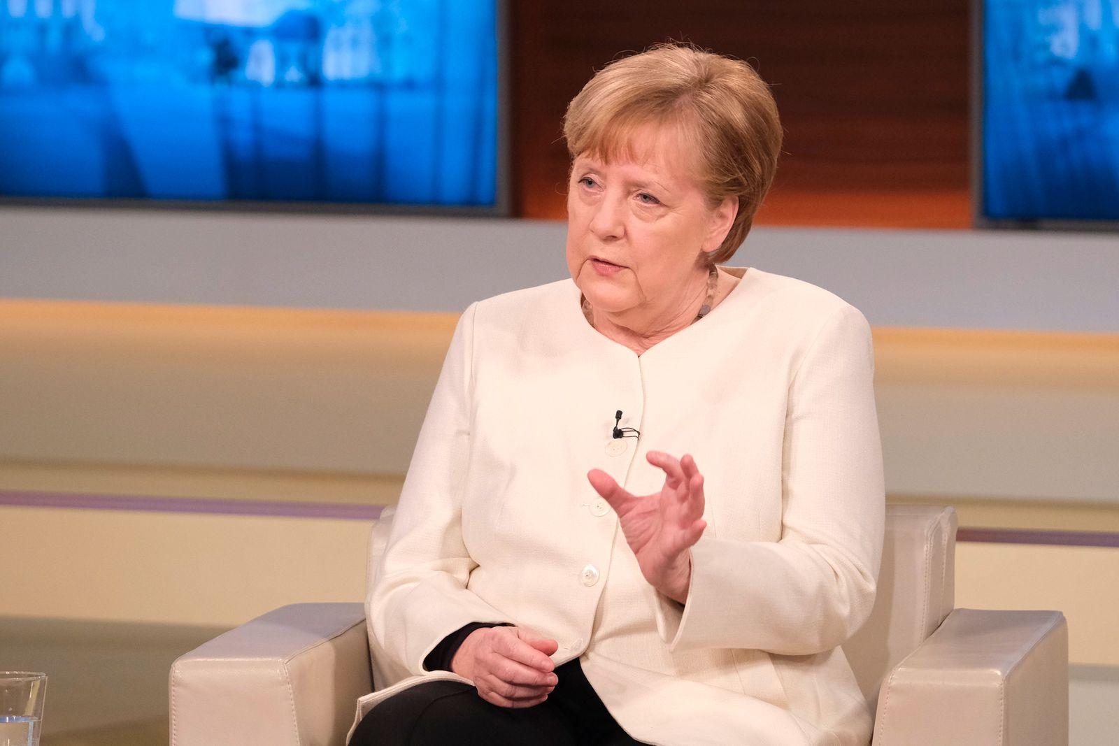 German Chancellor Angela Merkel talks at 'Anne Will' talk show on coronavirus crisis