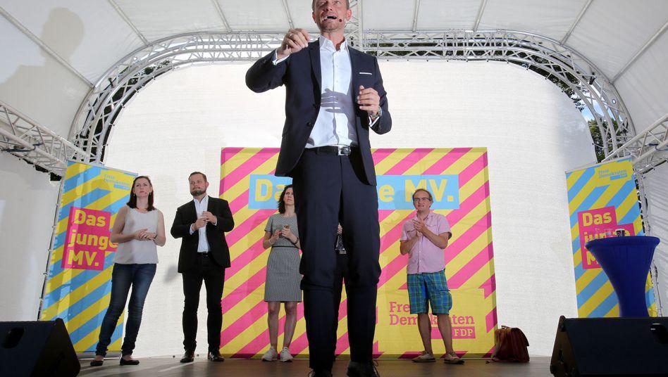 FDP-Chef Lindner auf Wahlkampfabschluss-Kundgebung in Rostock