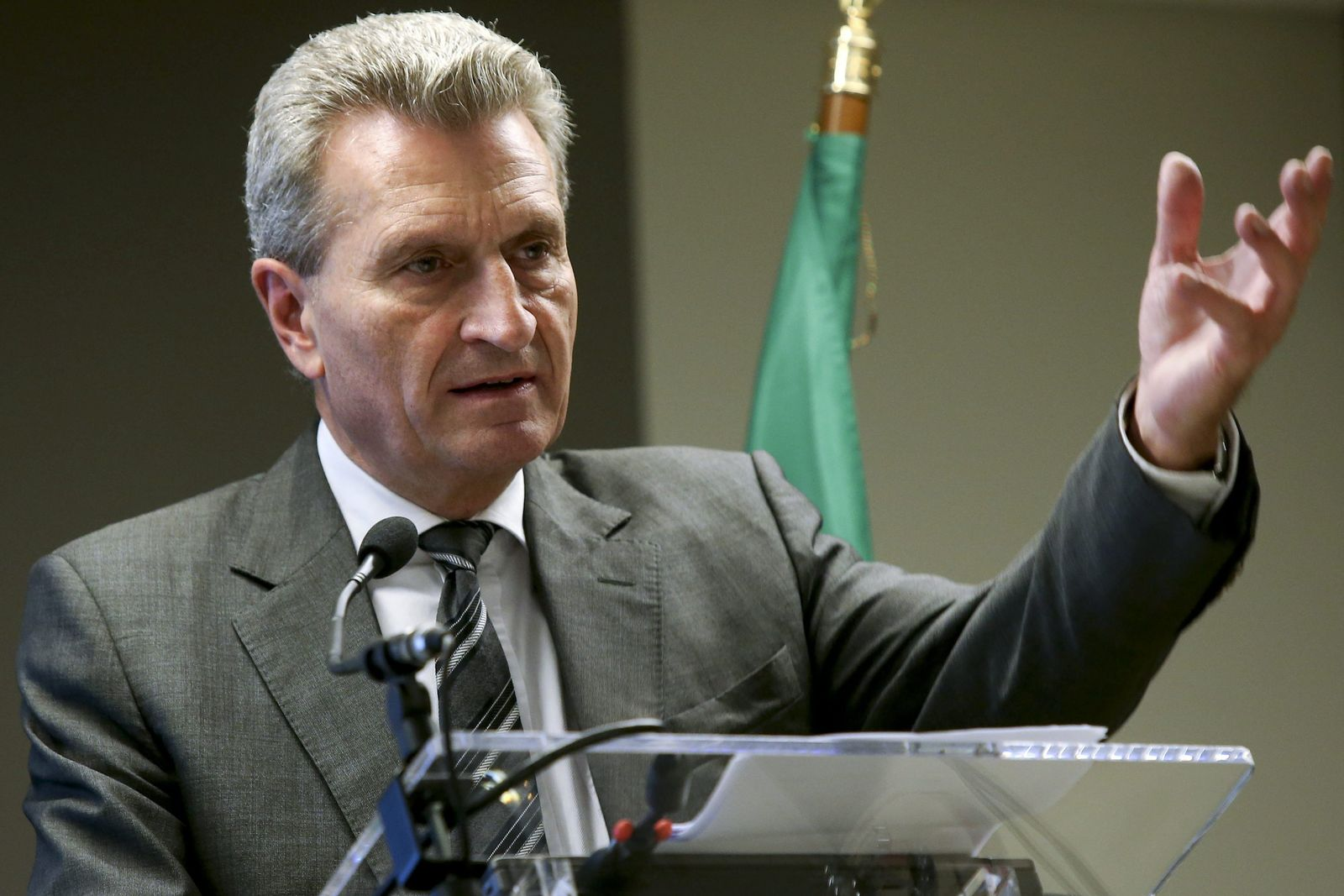 EU Commissioner Guenther Oettinger in Lisbon