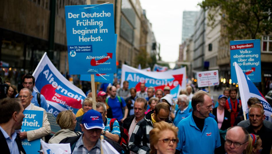 Alternative for Germany (AfD) supporters campaigned on the streets of Düsseldorf on Monday.